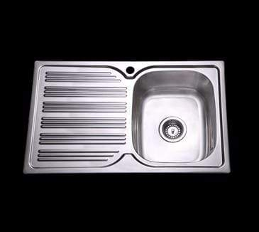 Bad und Kuche Kitchen Sink 1 Bowl + Drainer RHB- Square Edges BK78-S