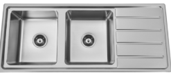 Bad und Kuche Kitchen Sink Double Bowl - LHB with Square Edges BK120-S