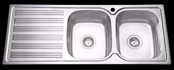 Bad und Kuche Kitchen Sink Double Bowl with RHB with Square Edges BK118-S