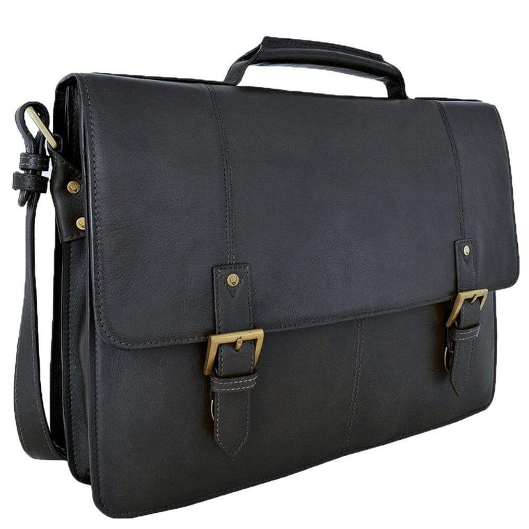 Hidesign Charles Mens Leather Briefcase - Black
