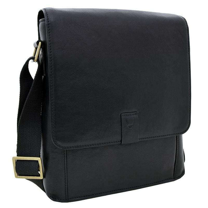 Hidesign Mens Leather Messenger Bag Black
