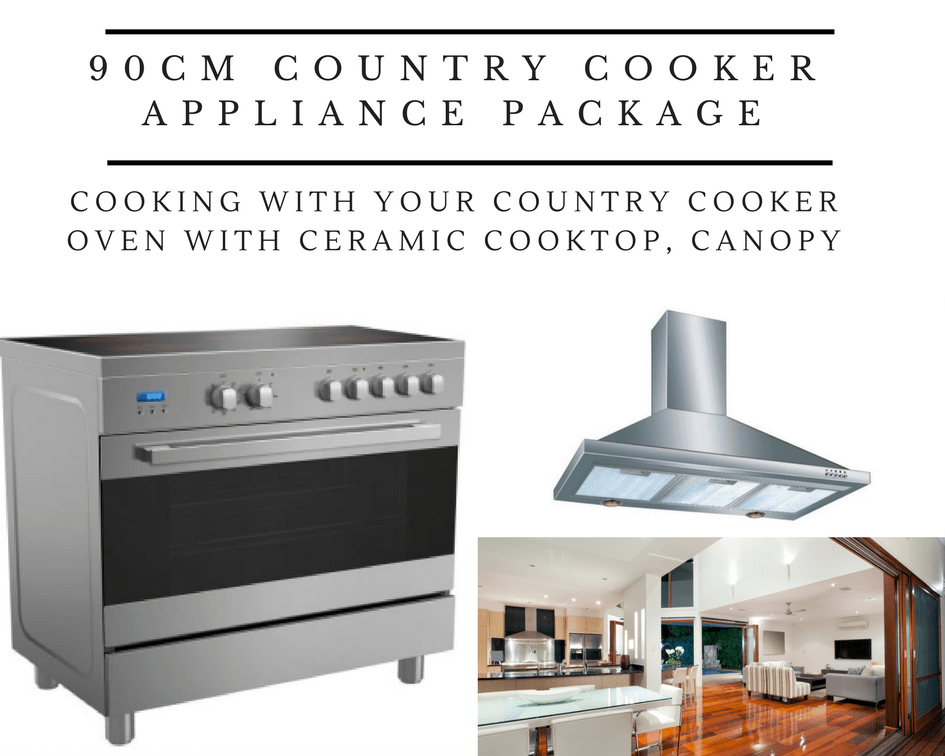 Midea 90cm Country Cooker with Ceramic Cooktop Package with Canopy Hood