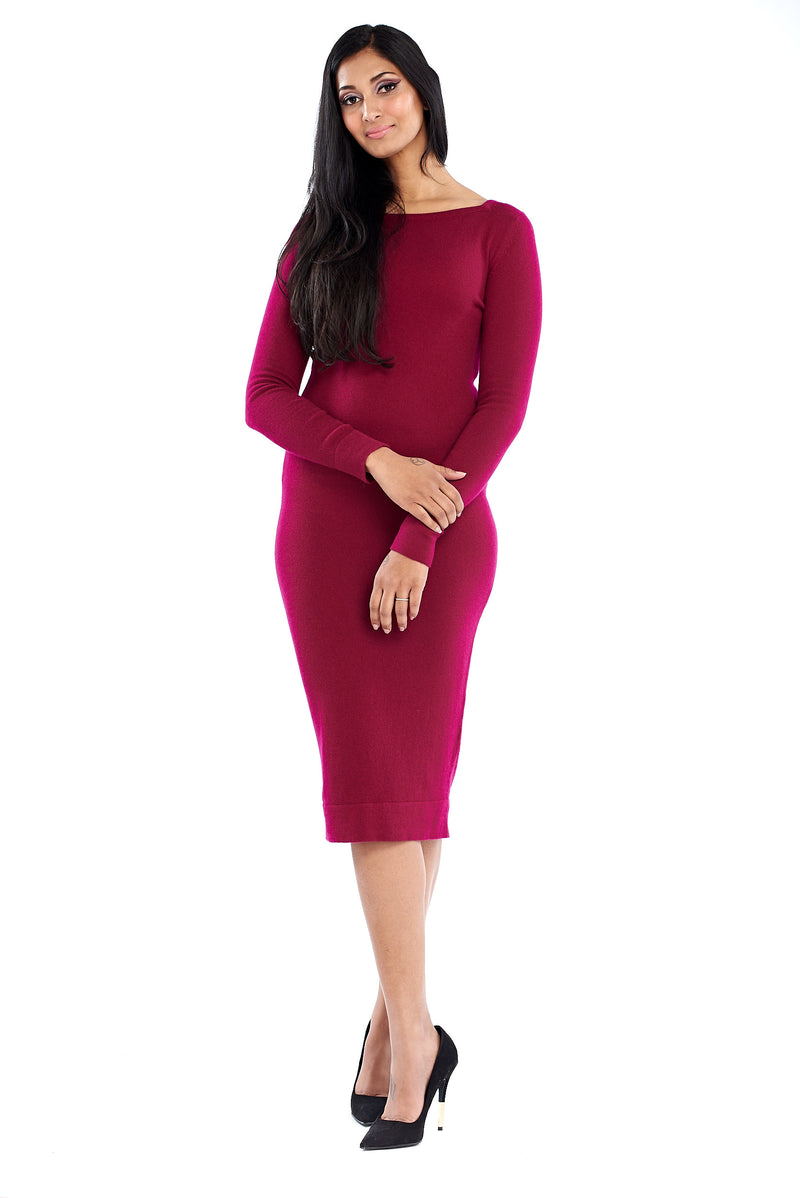 Cashmere Boat Neck Dress Mulberry - MUDRA