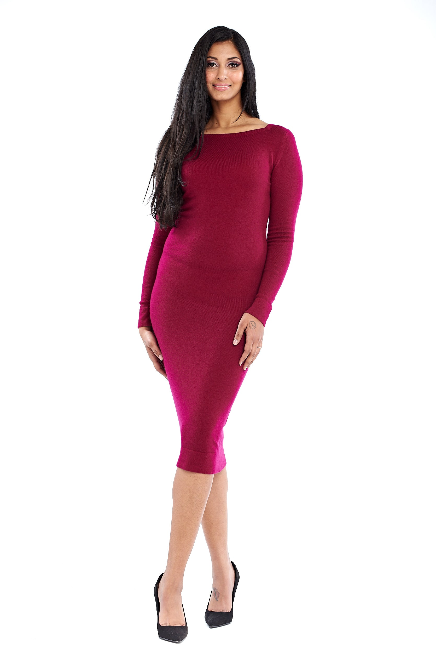 Cashmere Boat Neck Dress Mulberry