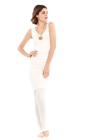 Bamboo Side Slit Skirt White