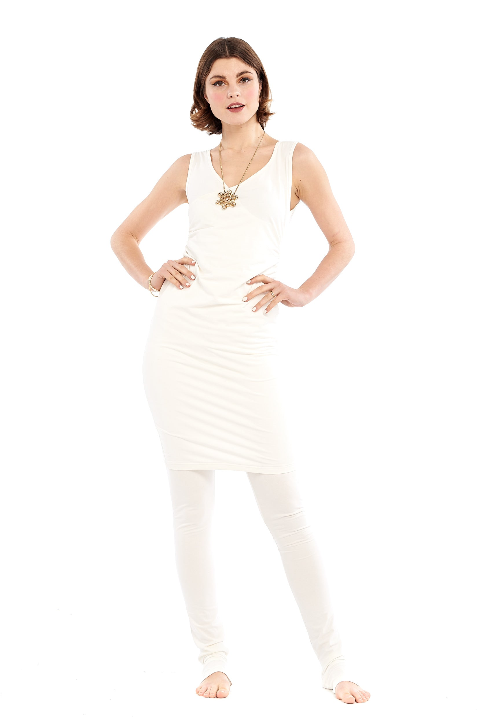 Organic Bamboo Crossover Dress Cream
