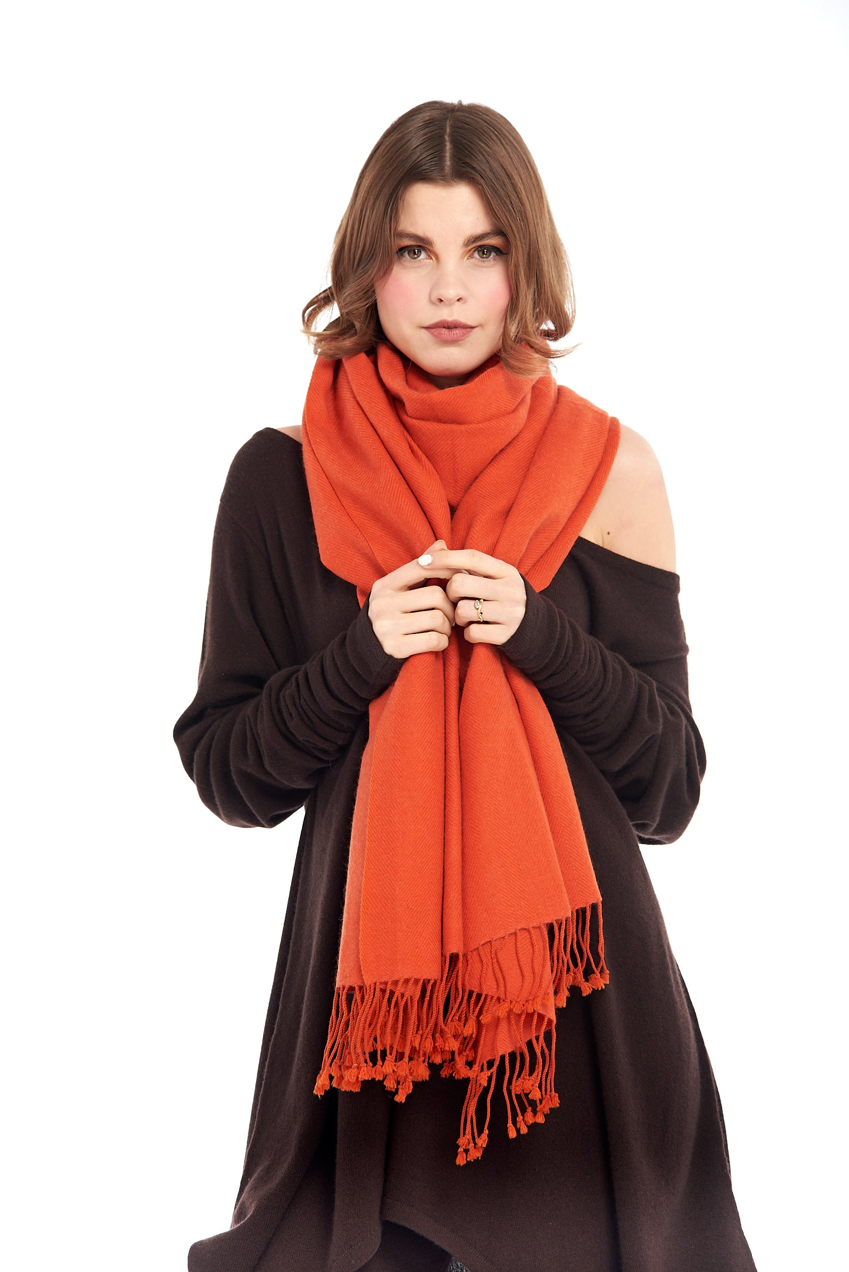 100% Pure Luxury Cashmere Herringbone Shawl Spicy Orange