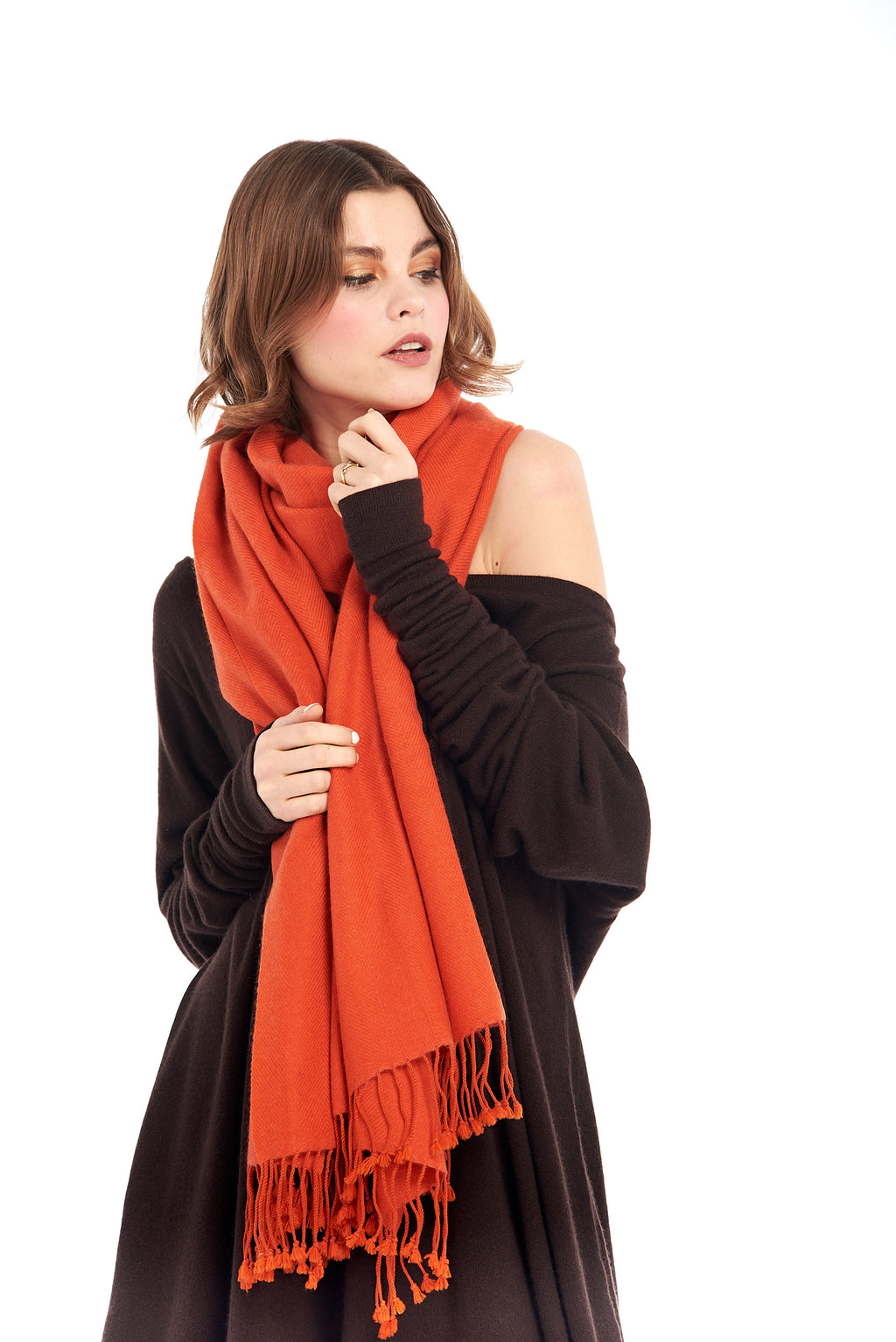 100% Pure Mongolian Luxury Cashmere Herringbone Shawl Spicy Orange - MUDRA