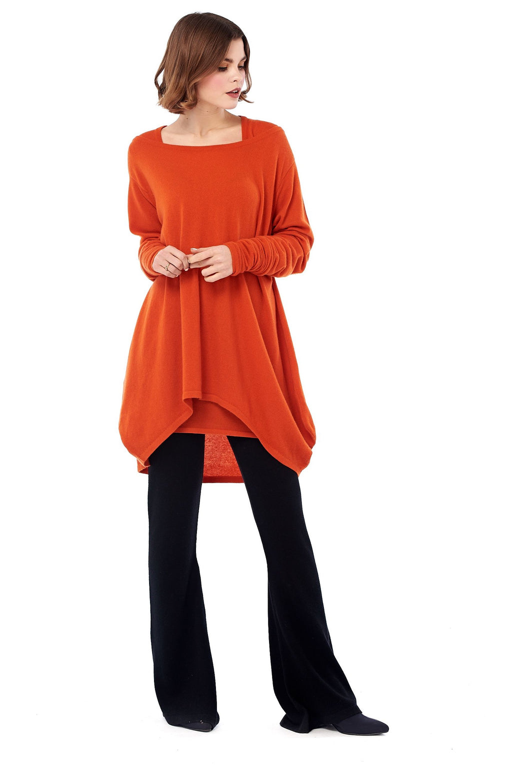 Pure Cashmere Dutch Jumper Orange - MUDRA