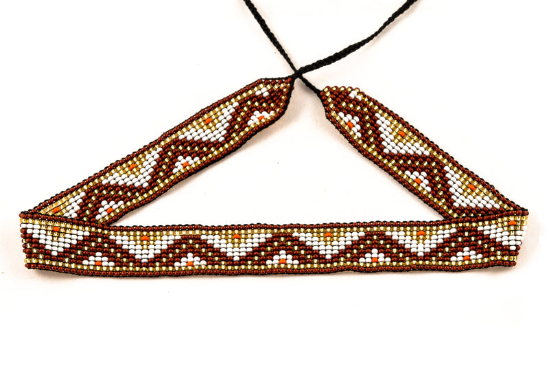 UNISEX Beaded Headbands / Chokers Brown - MUDRA
