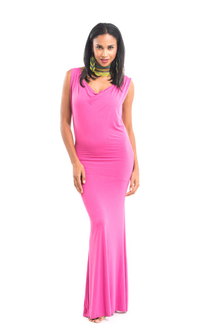 Bamboo Crossover Dress Deep Pink
