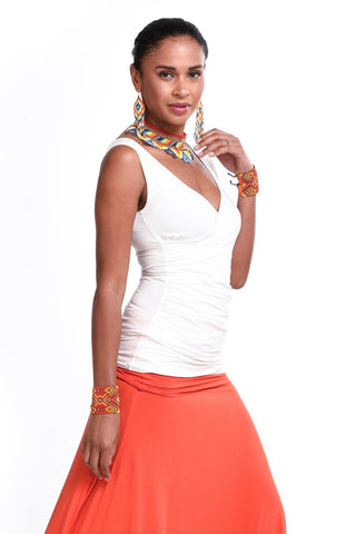 Bamboo Crossover Top Spicy Orange