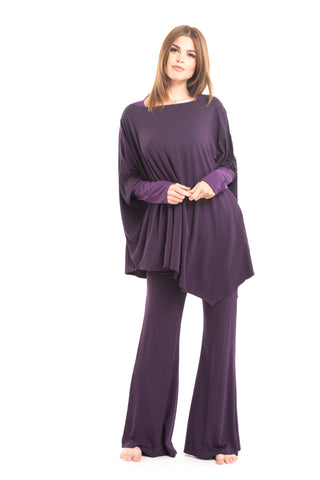 Bamboo Luxury Panelled Leggings Deep Purple