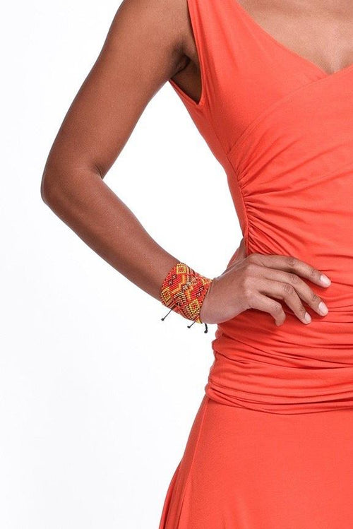 Medicine Beaded Double Bracelet Orange