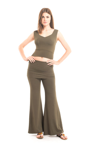 Bamboo Yoga Pants Flared Olive Green