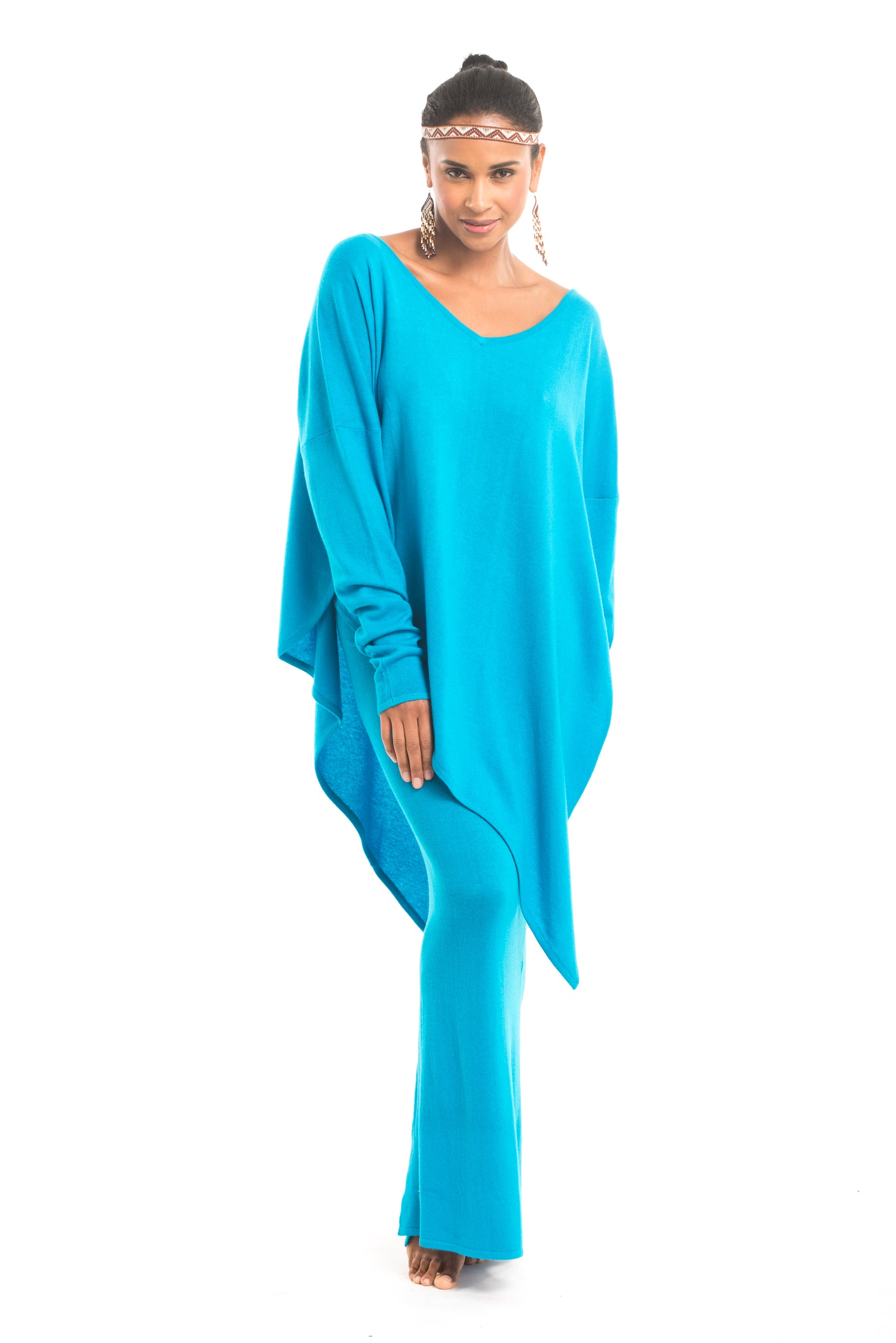 Cashmere Side Split Skirt Turquoise
