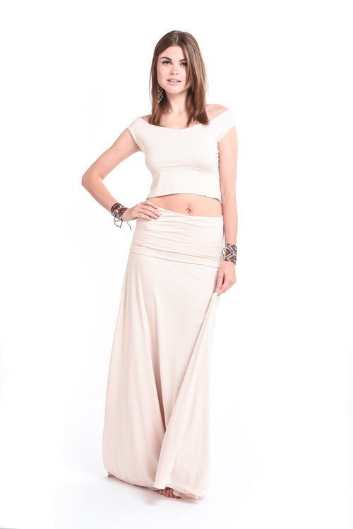 Bamboo Flamenco Skirt Ecru