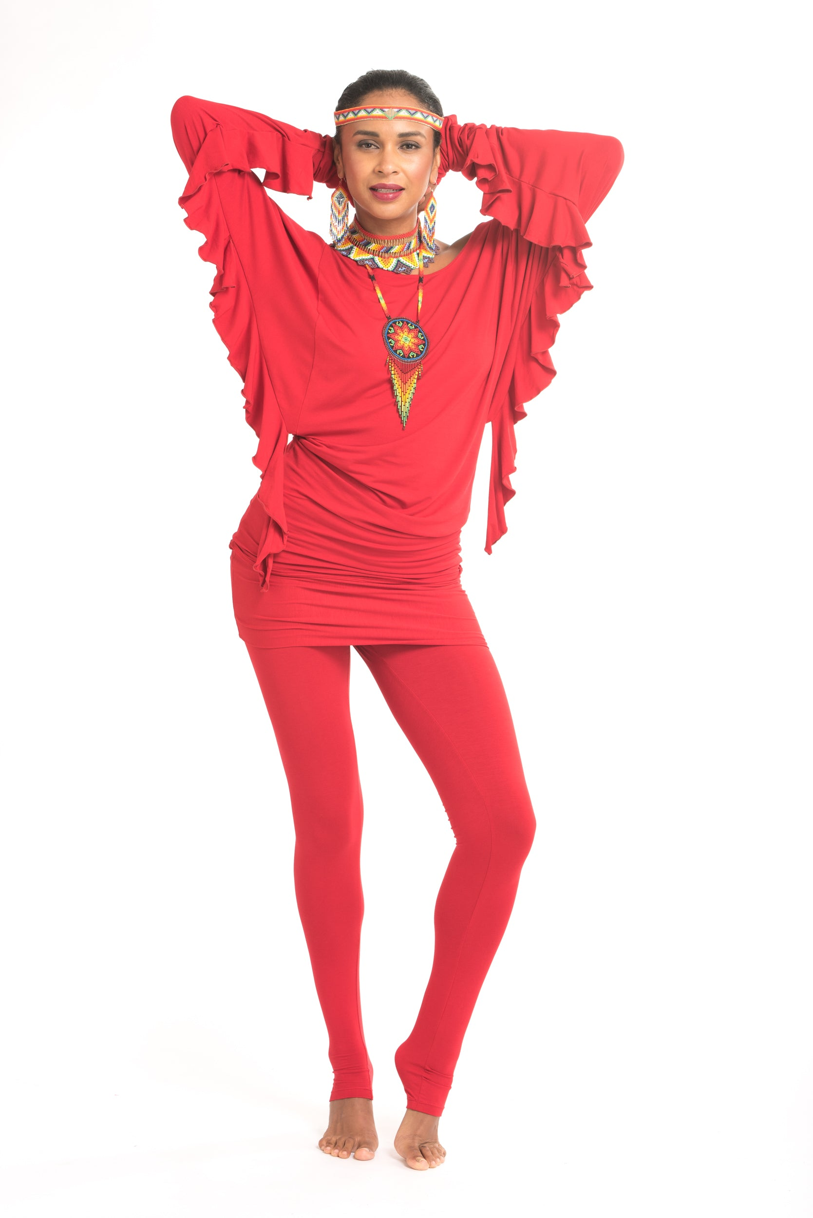 Bamboo Luxury Panelled Leggings Red