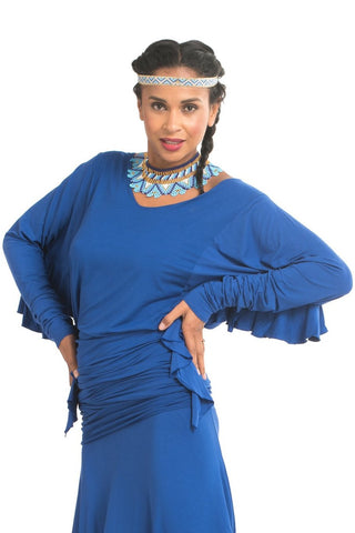 Organic Bamboo Crossover Dress Royal Blue