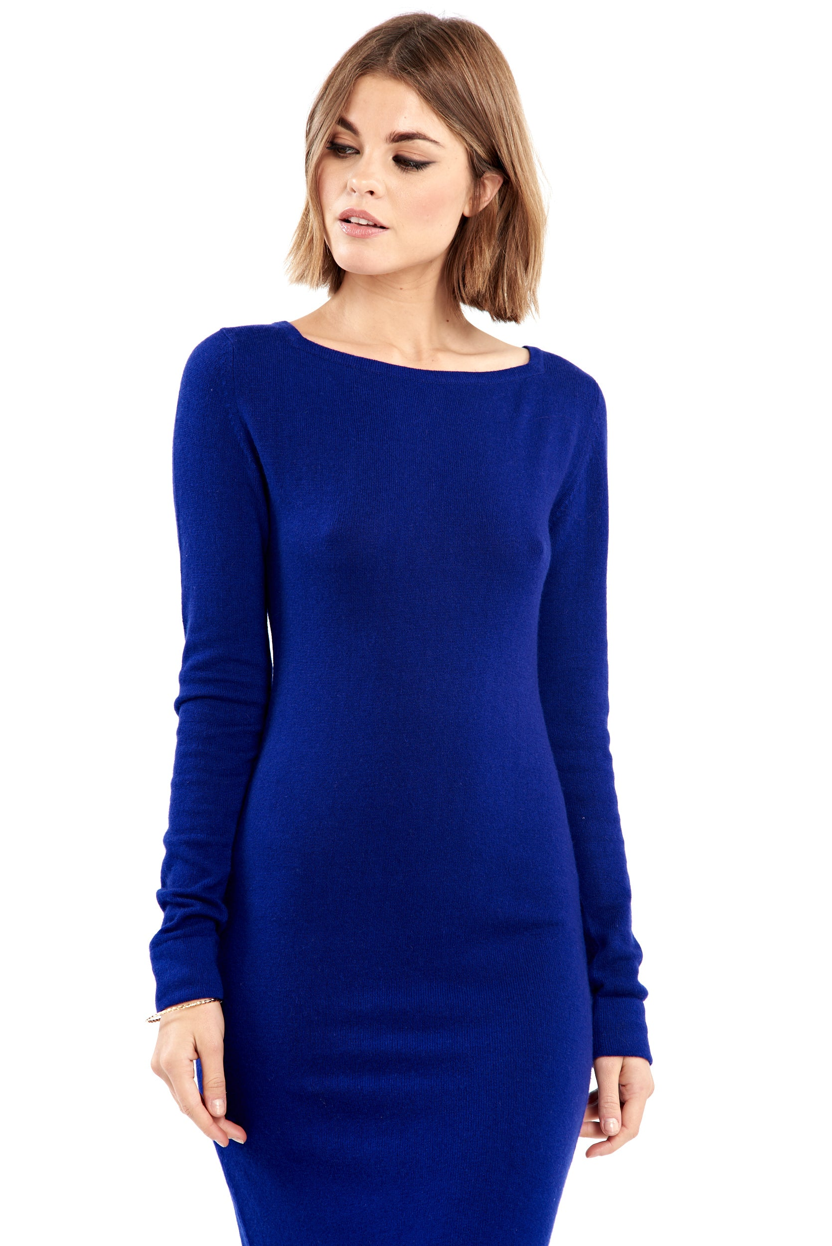 Cashmere Boat Neck Dress Indigo