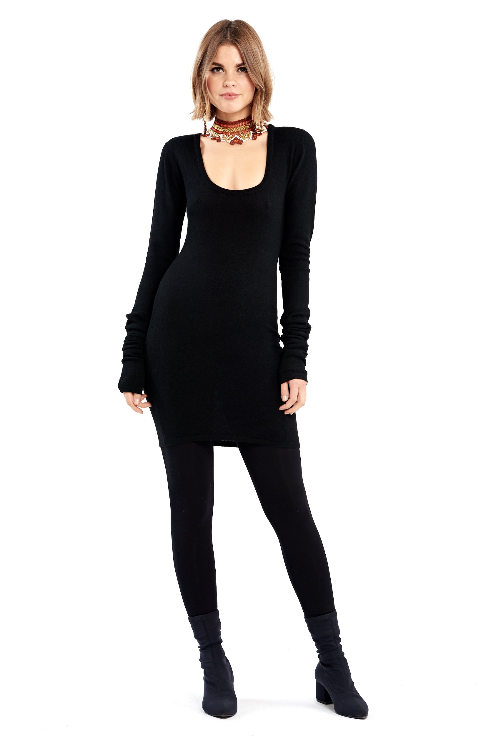 Cashmere Fitted Shift Dress Black
