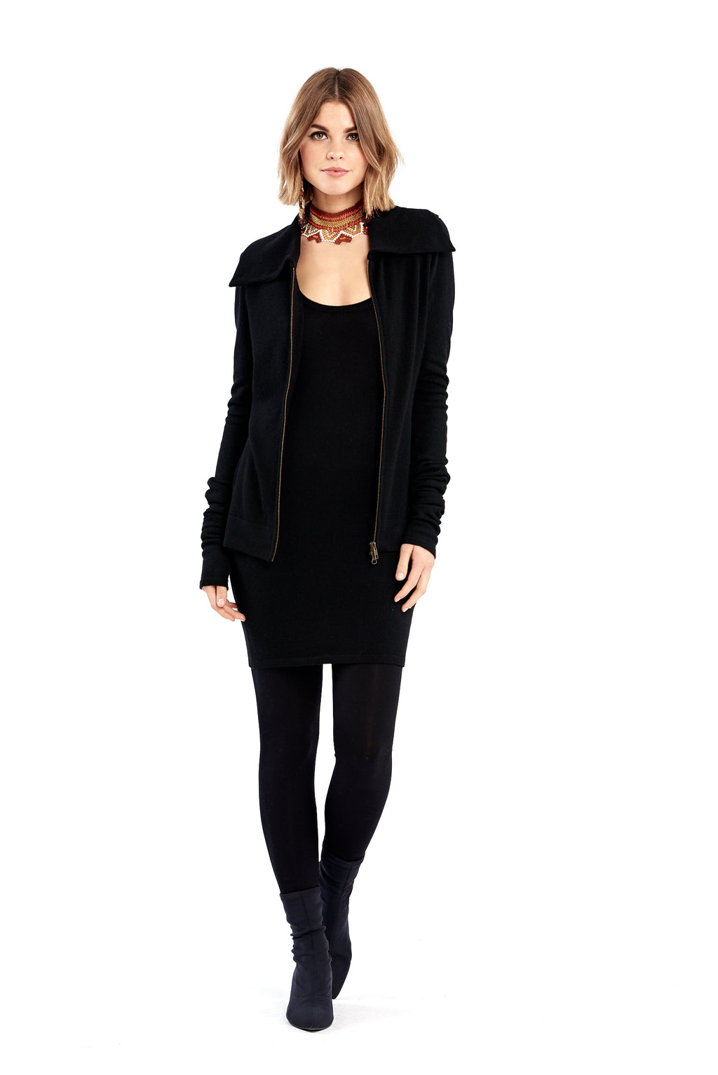 Cashmere Zipped Sleeve Jacket Black - MUDRA