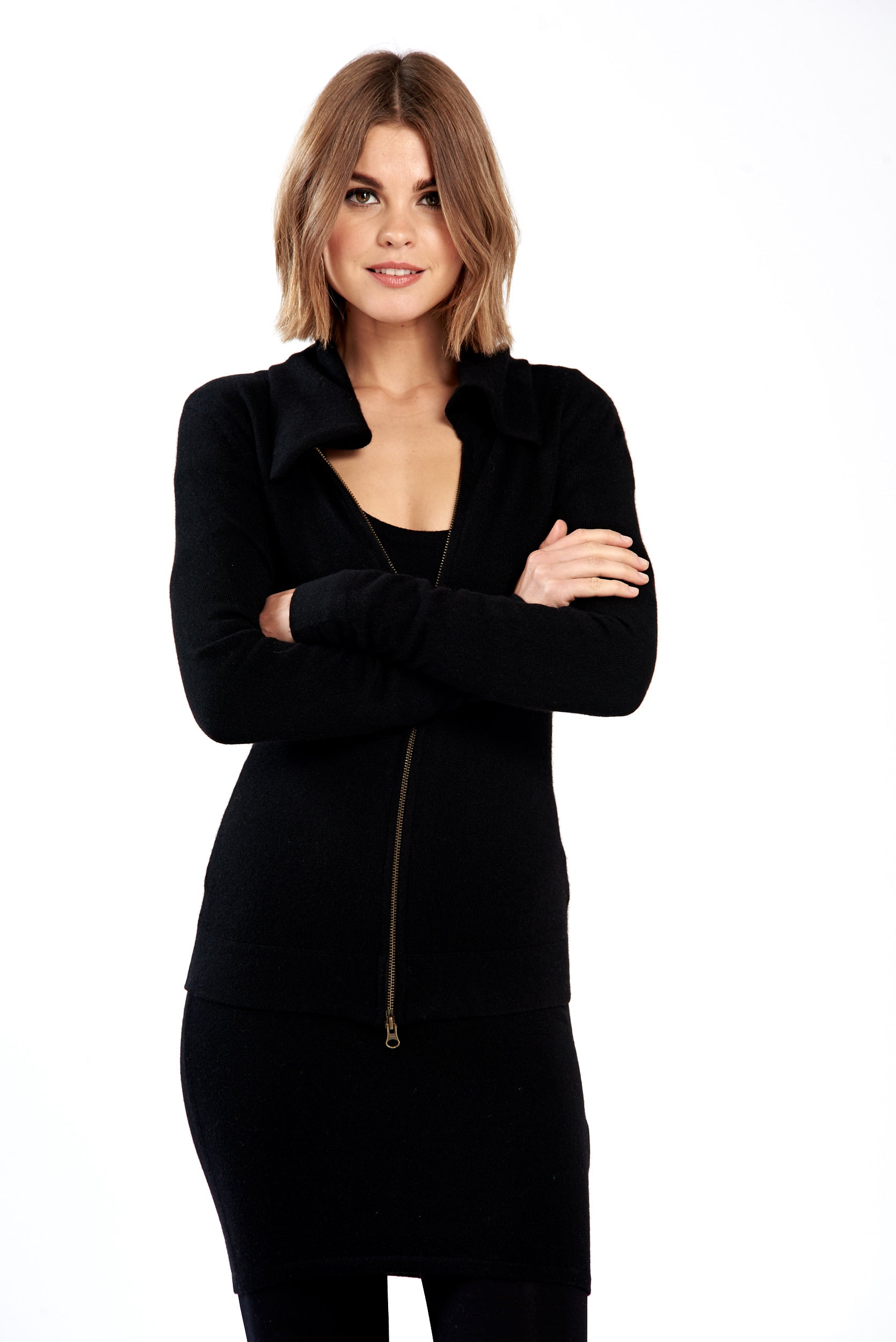 Cashmere Zipped Sleeve Jacket Black