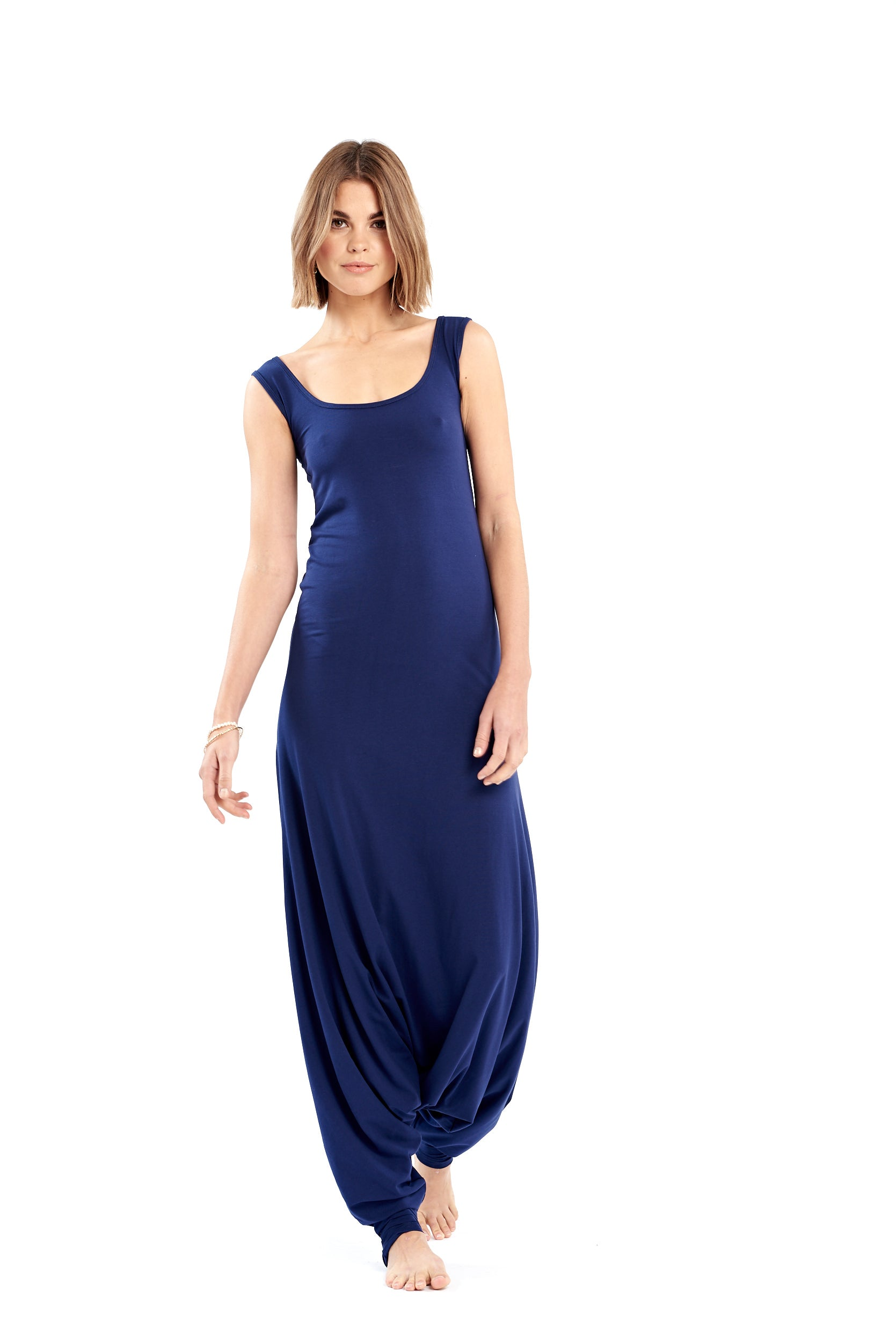 Organic Bamboo Fitted Jumpsuit Navy
