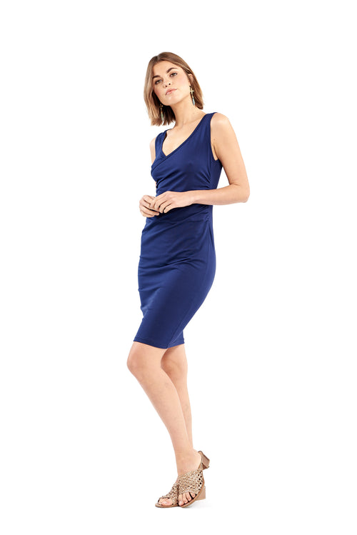 Organic Bamboo Crossover Dress Navy