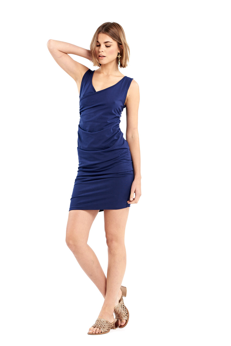 Organic Bamboo Crossover Dress Navy - MUDRA