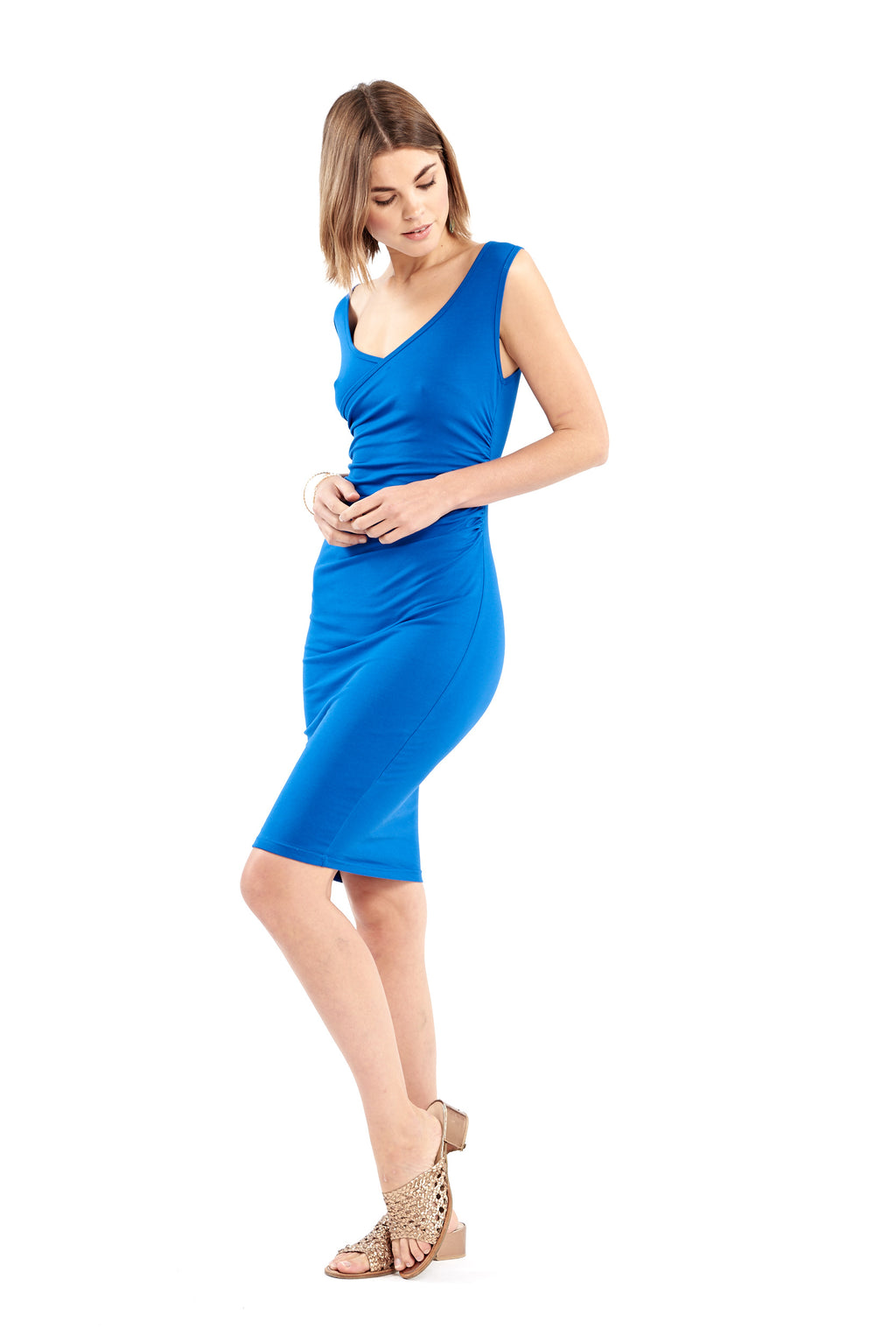 Organic Bamboo Crossover Dress Royal Blue - MUDRA