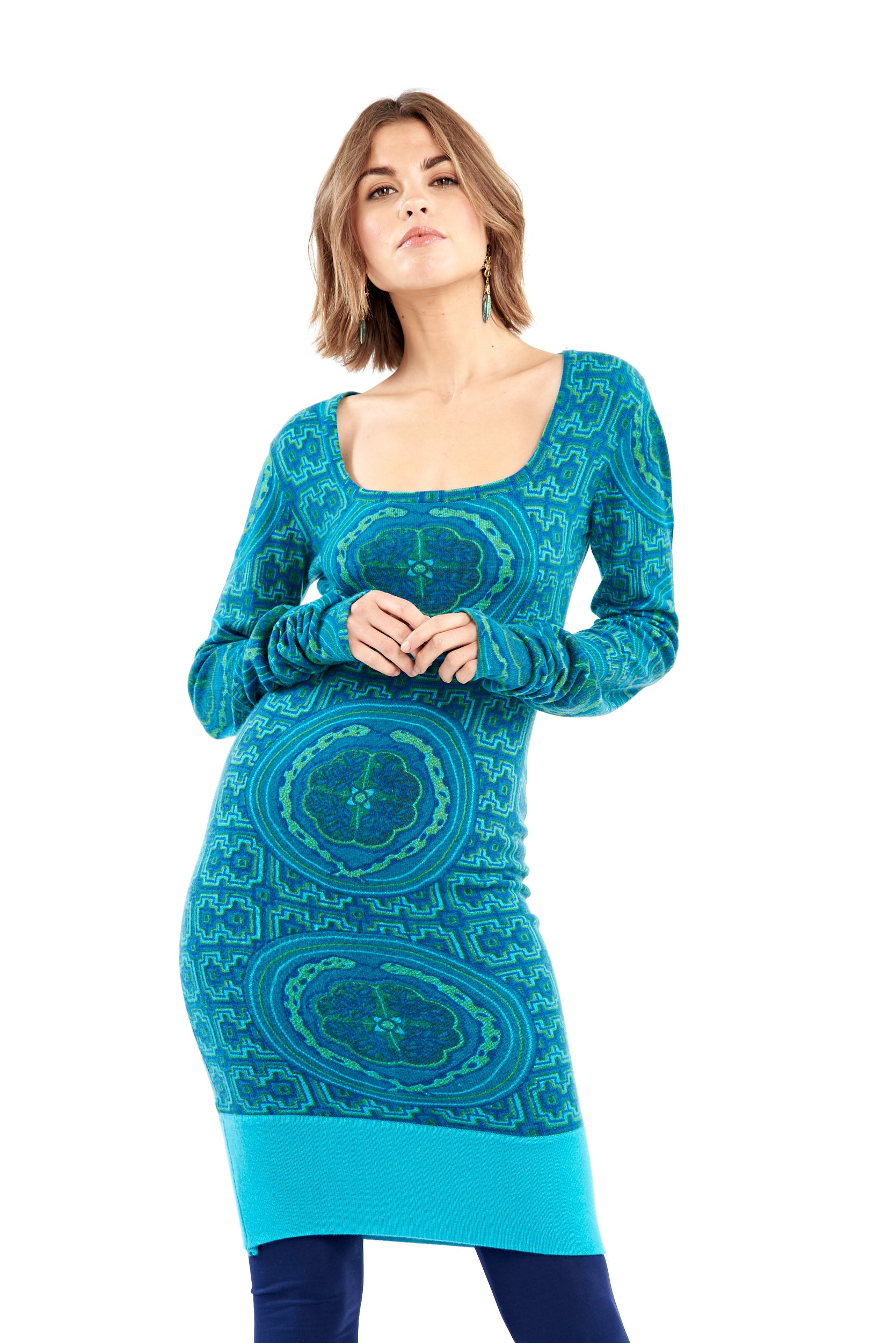 Shipibo Inspired Cashmere Fitted Jumper Dress Blue/Turquoise with Panel