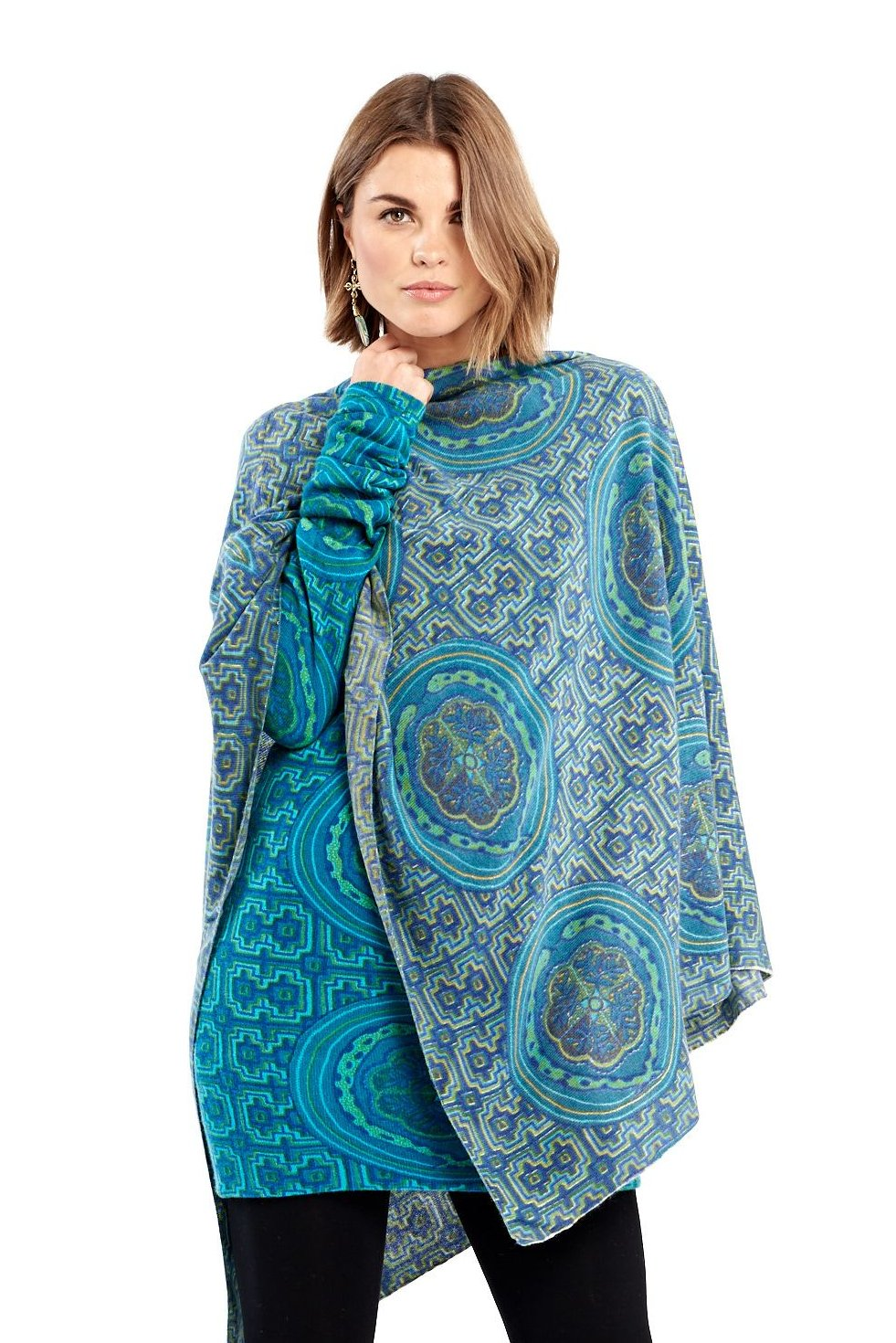 100% Pure Mongolian Cashmere Luxury Hand Printed Shipibo Poncho Blue/Turquoise - MUDRA