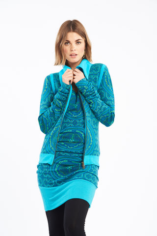 Cashmere Luxury Waterfall Jacket Turquoise