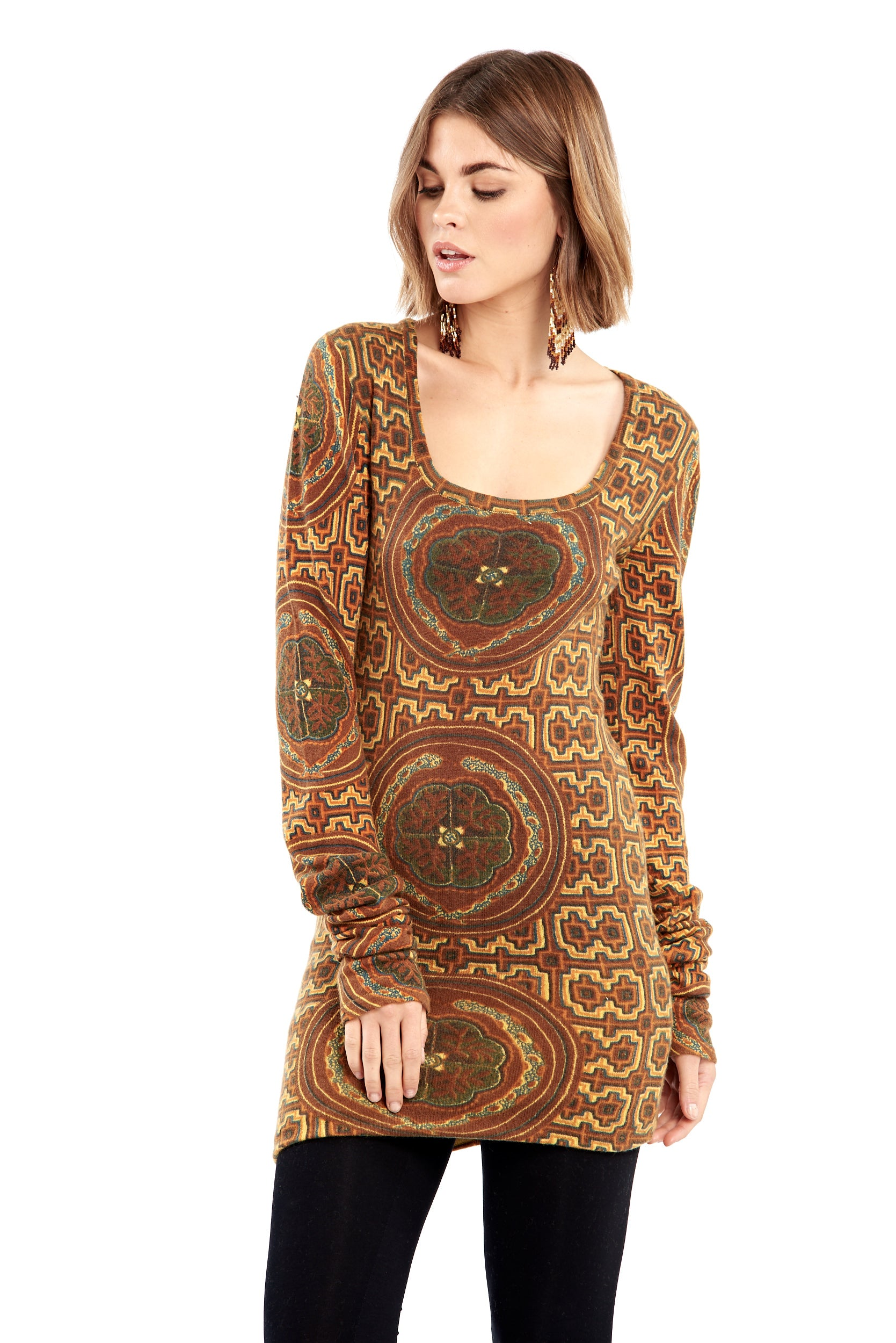 Shipibo Inspired Cashmere Fitted Jumper Dress Yellow/Brown