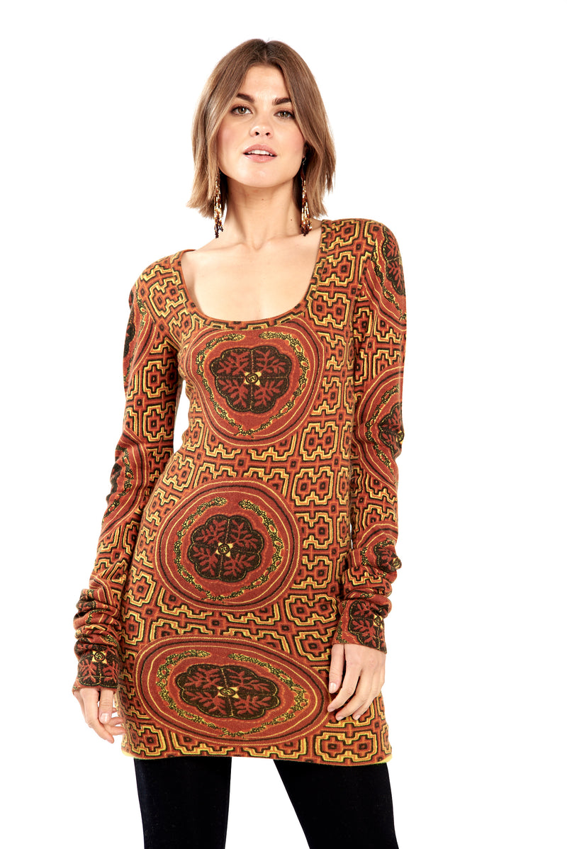 100% Pure Mongolian Shipibo Inspired Cashmere Fitted Jumper Dress Burgundy/Orange No Panel - MUDRA