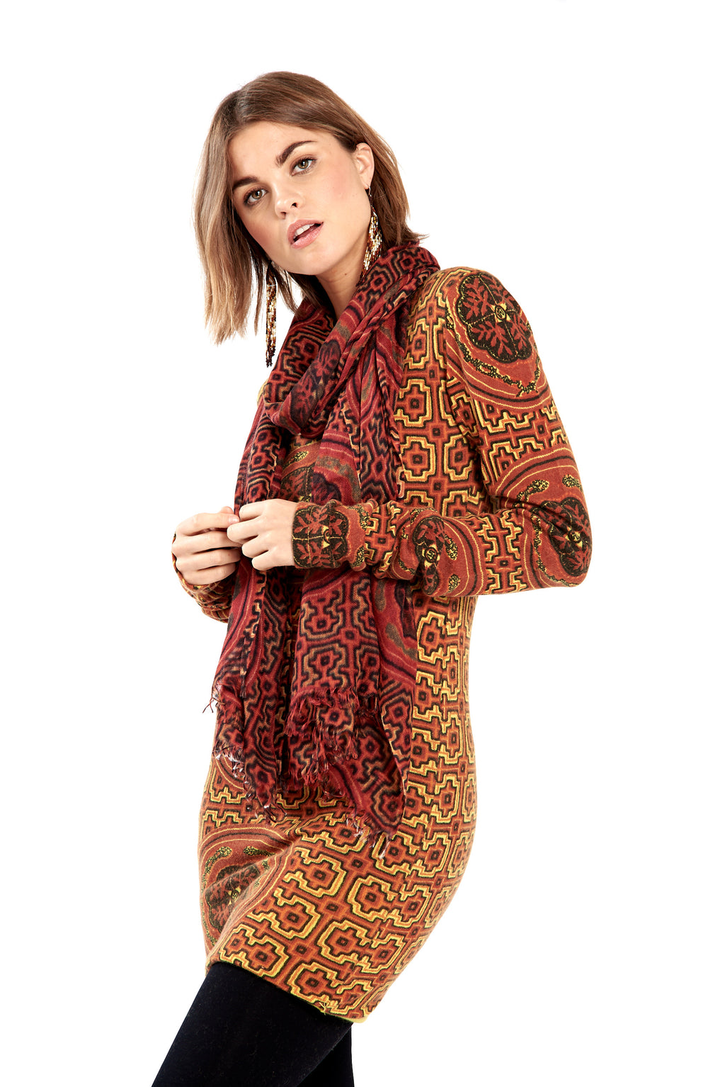 Shipibo Inspired Cashmere Fitted Jumper Dress Burgundy/Orange No Panel - MUDRA