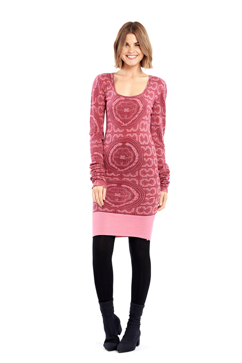 Shipibo Inspired Cashmere Fitted Jumper Dress Pink/Purple with Panel