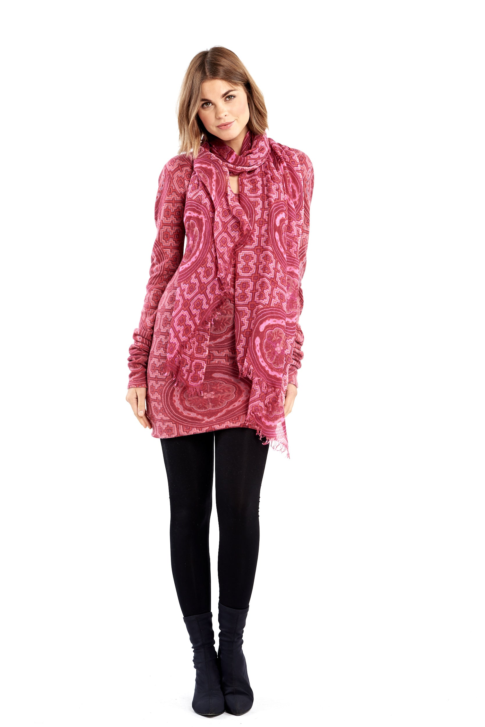 Shipibo Inspired Cashmere Fitted Jumper Dress Pink/Purple