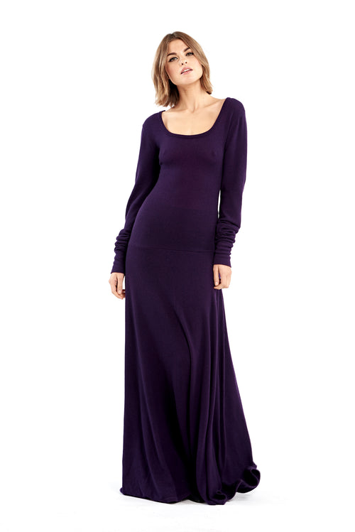 Cashmere Long Dress with Hood Aubergine