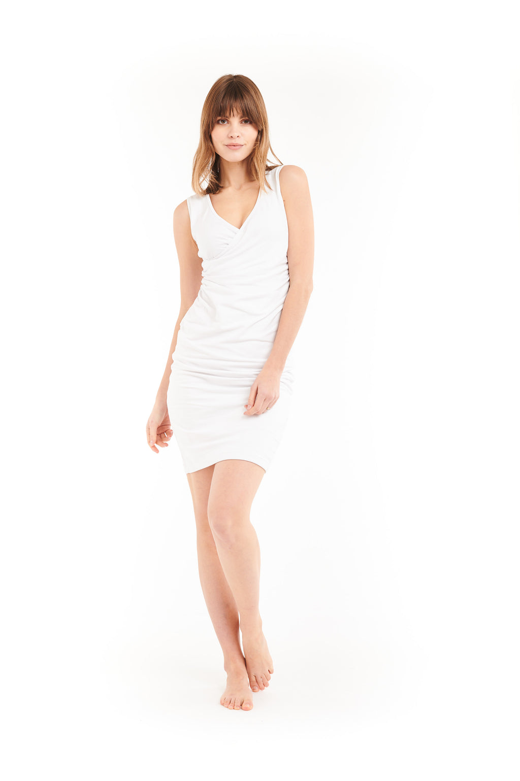 Organic Bamboo Crossover Dress White - MUDRA