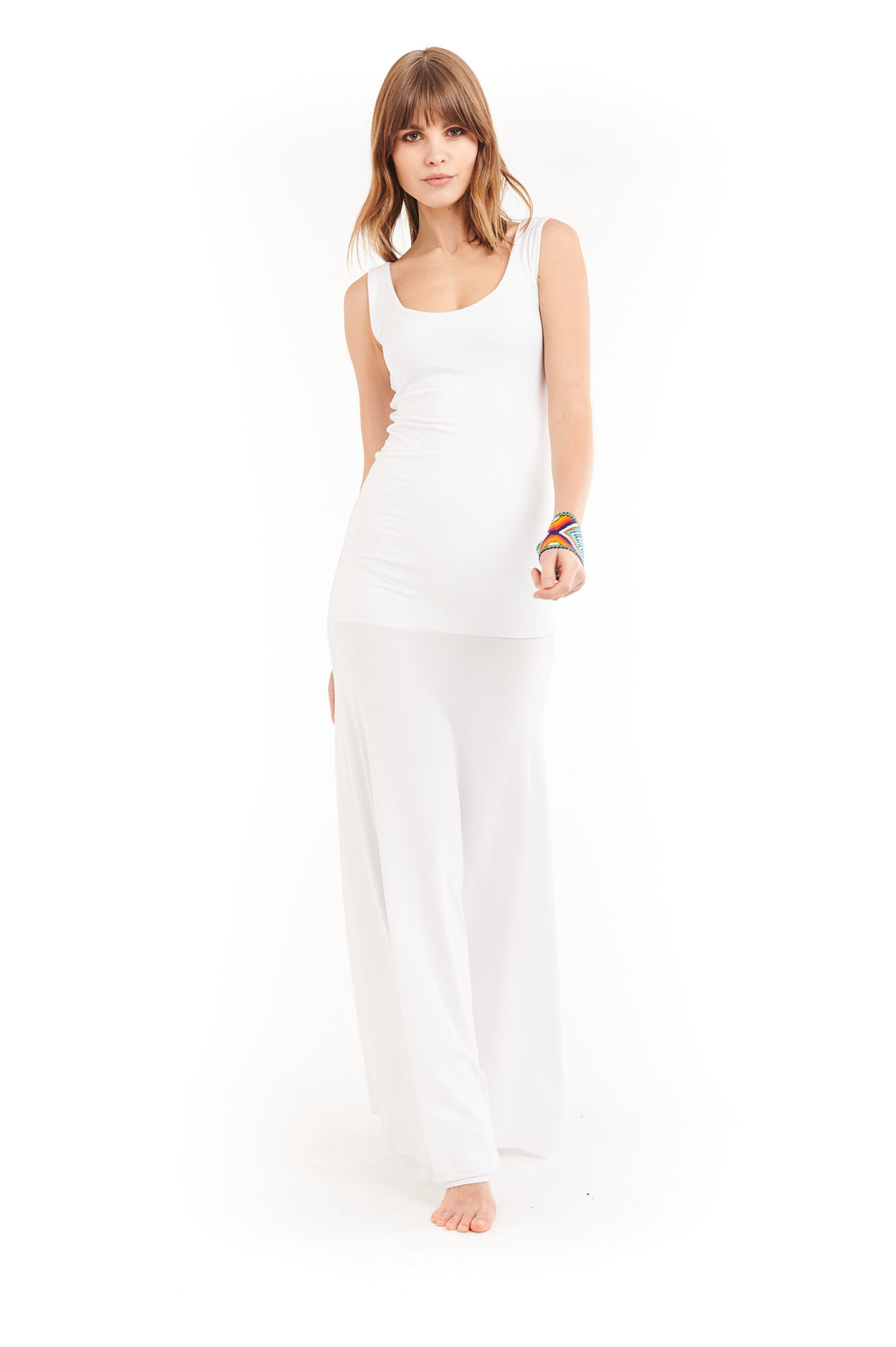 Bamboo Flamenco Dress White - MUDRA