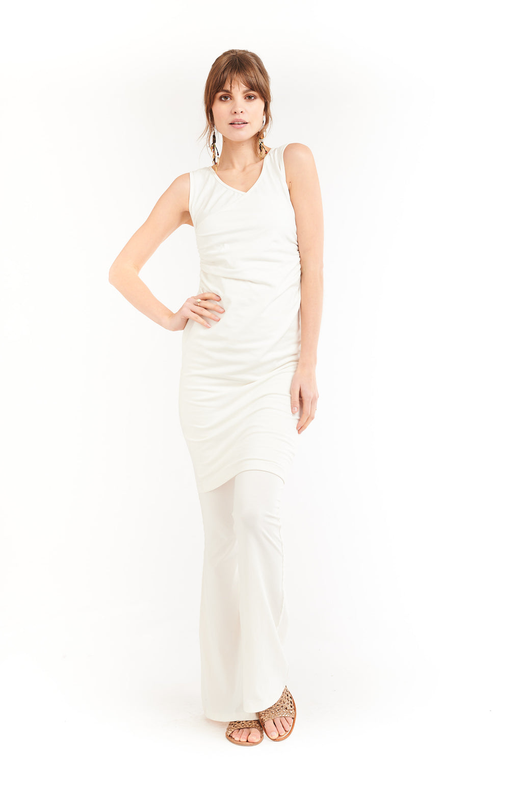 Organic Bamboo Crossover Dress Cream - MUDRA
