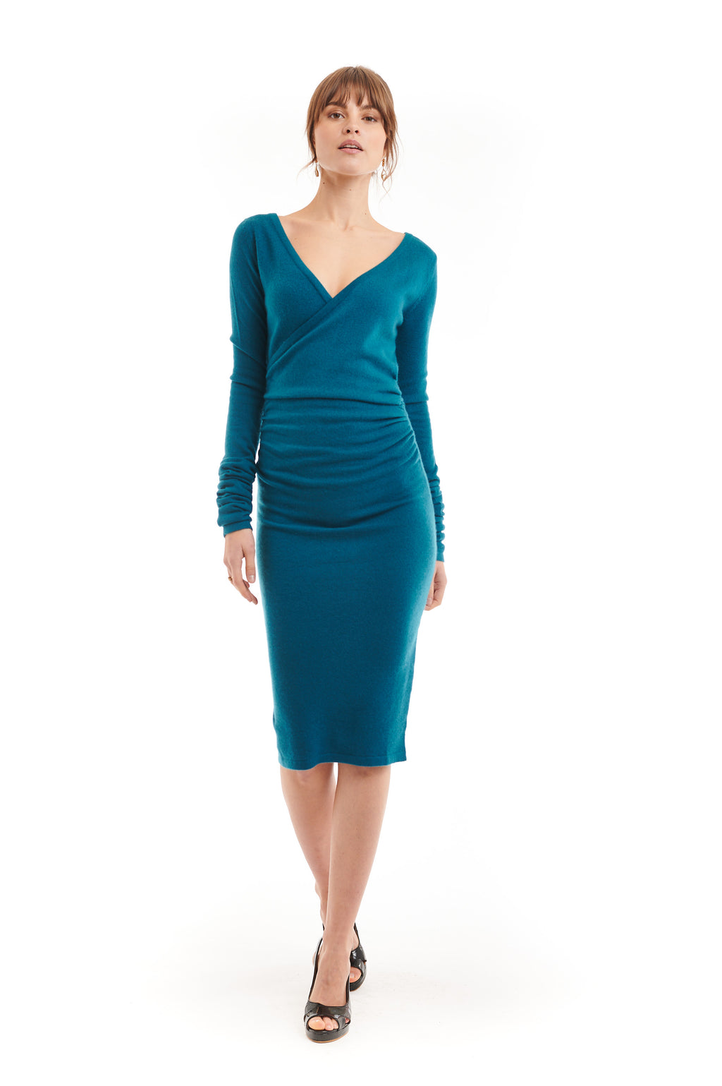 Cashmere Crossover Dress Teal - MUDRA