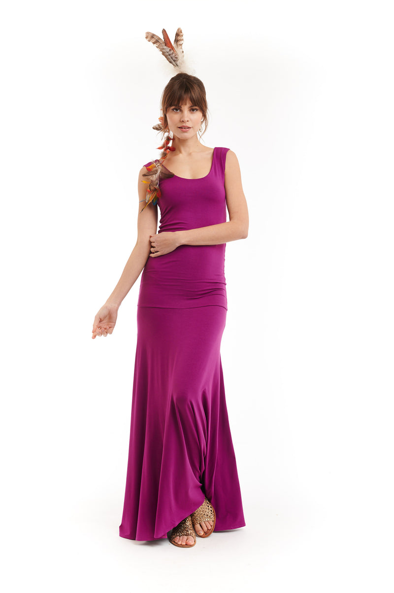 Bamboo Flamenco Dress Fuchsia - MUDRA