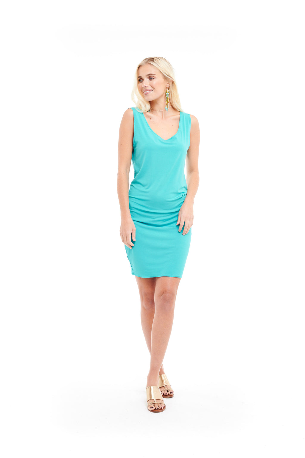 Bamboo Long Vest Dress Turquoise - MUDRA
