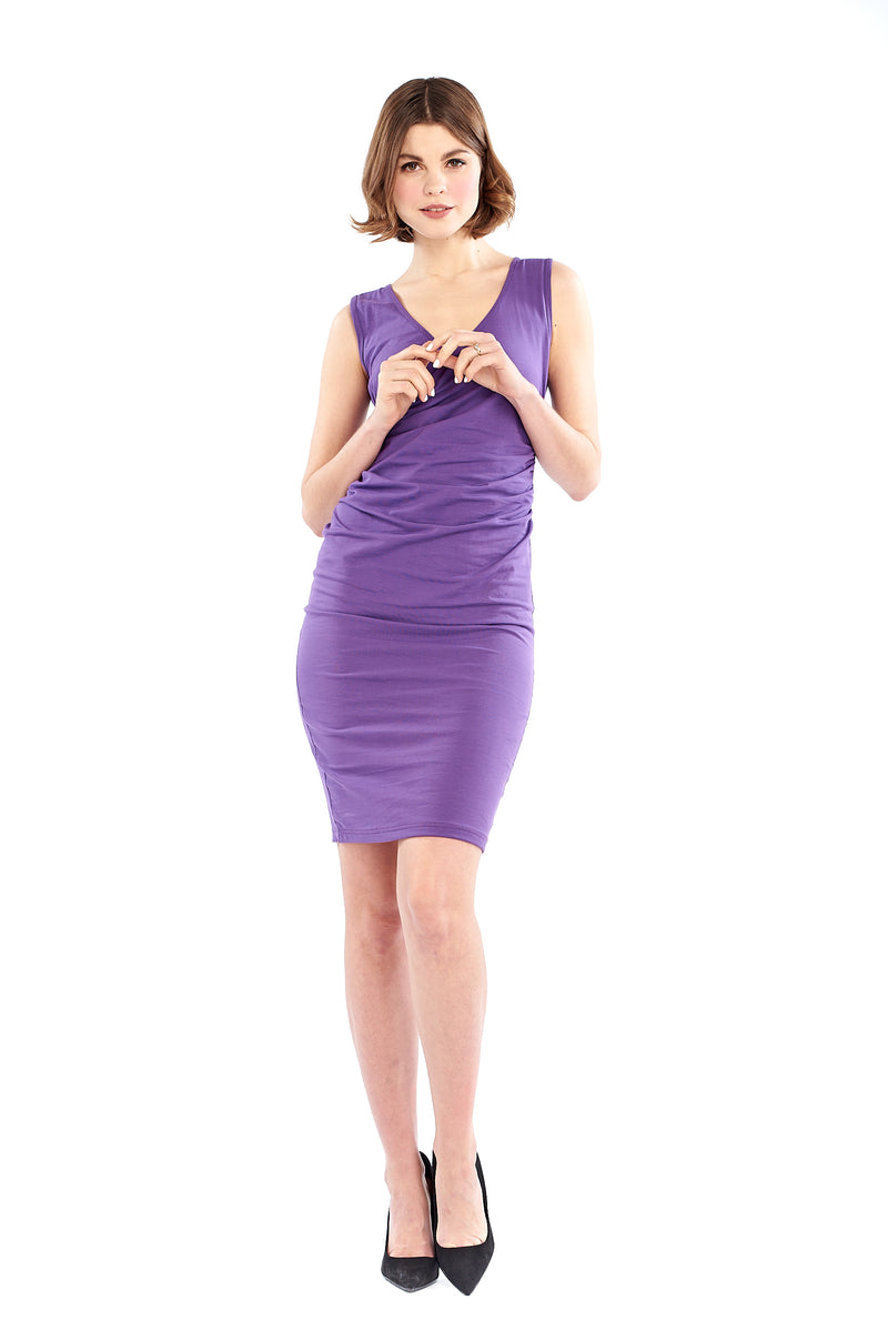 Organic Bamboo Crossover Dress Purple - MUDRA