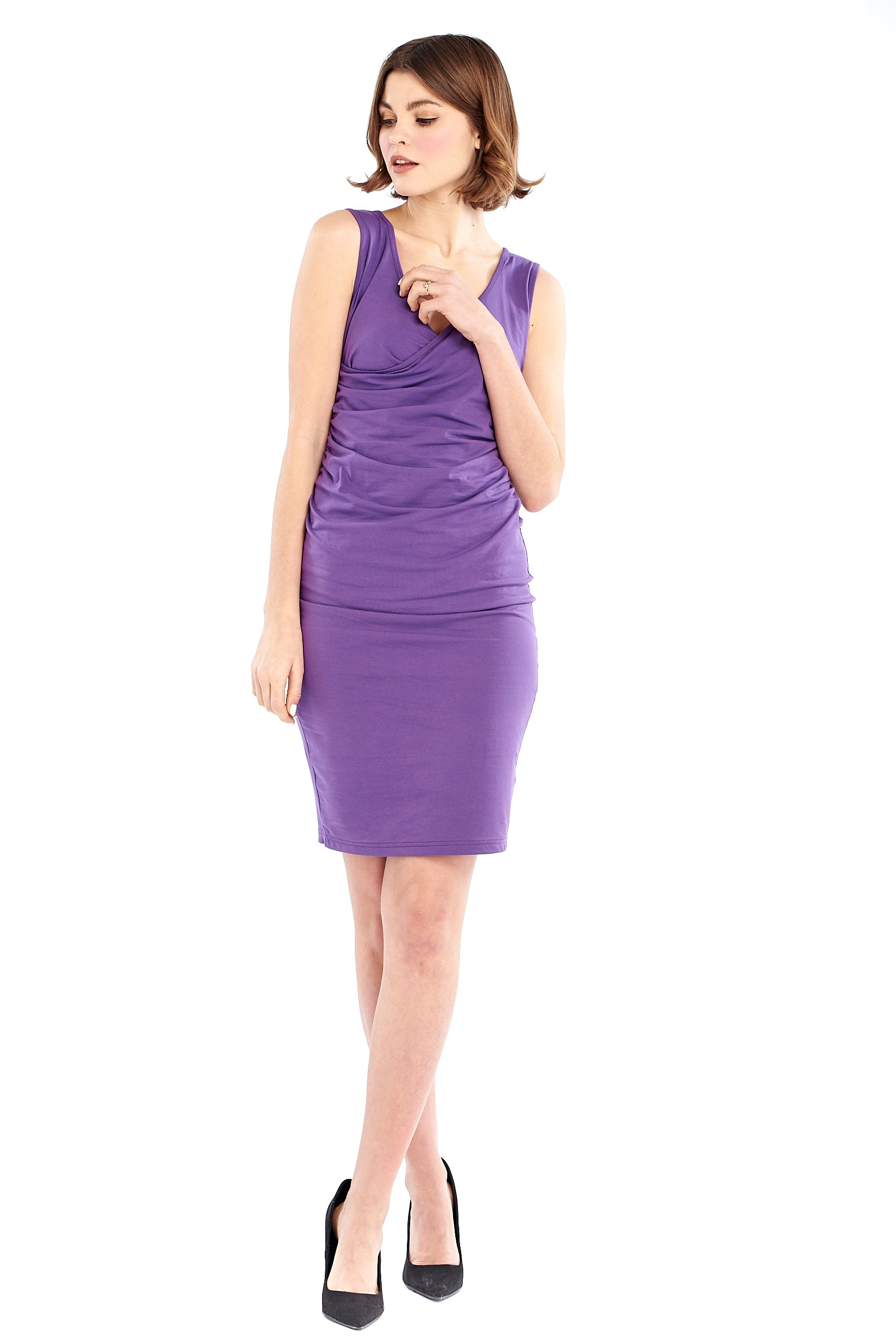 Organic Bamboo Crossover Dress Purple