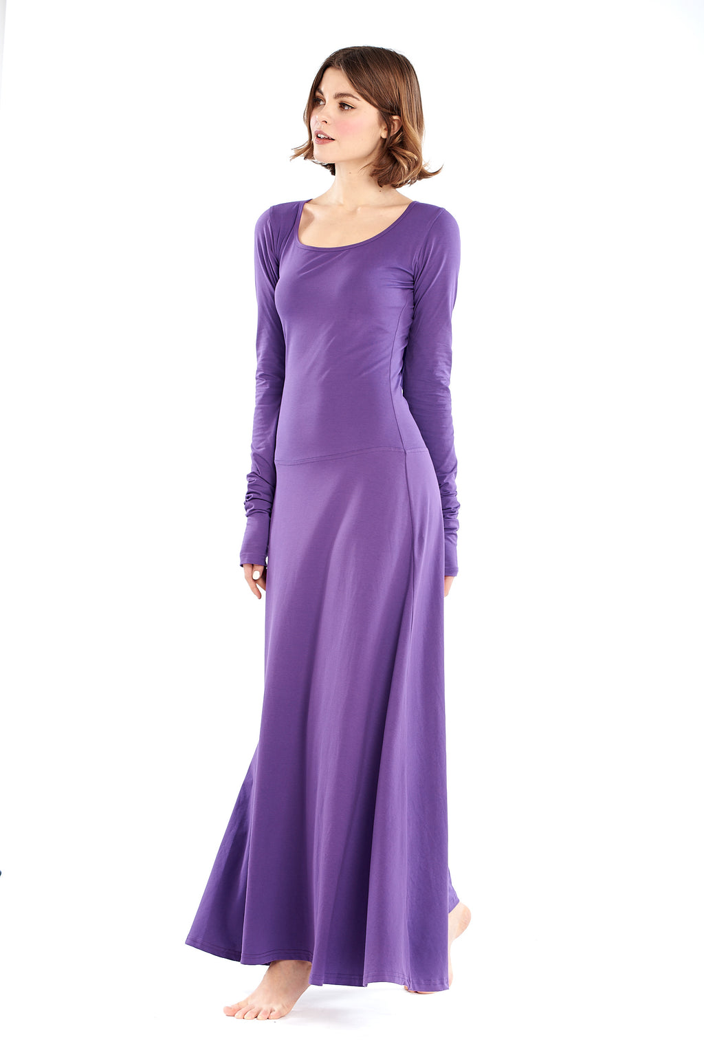 Organic Bamboo Avalon Hooded Dress Bright Purple - MUDRA