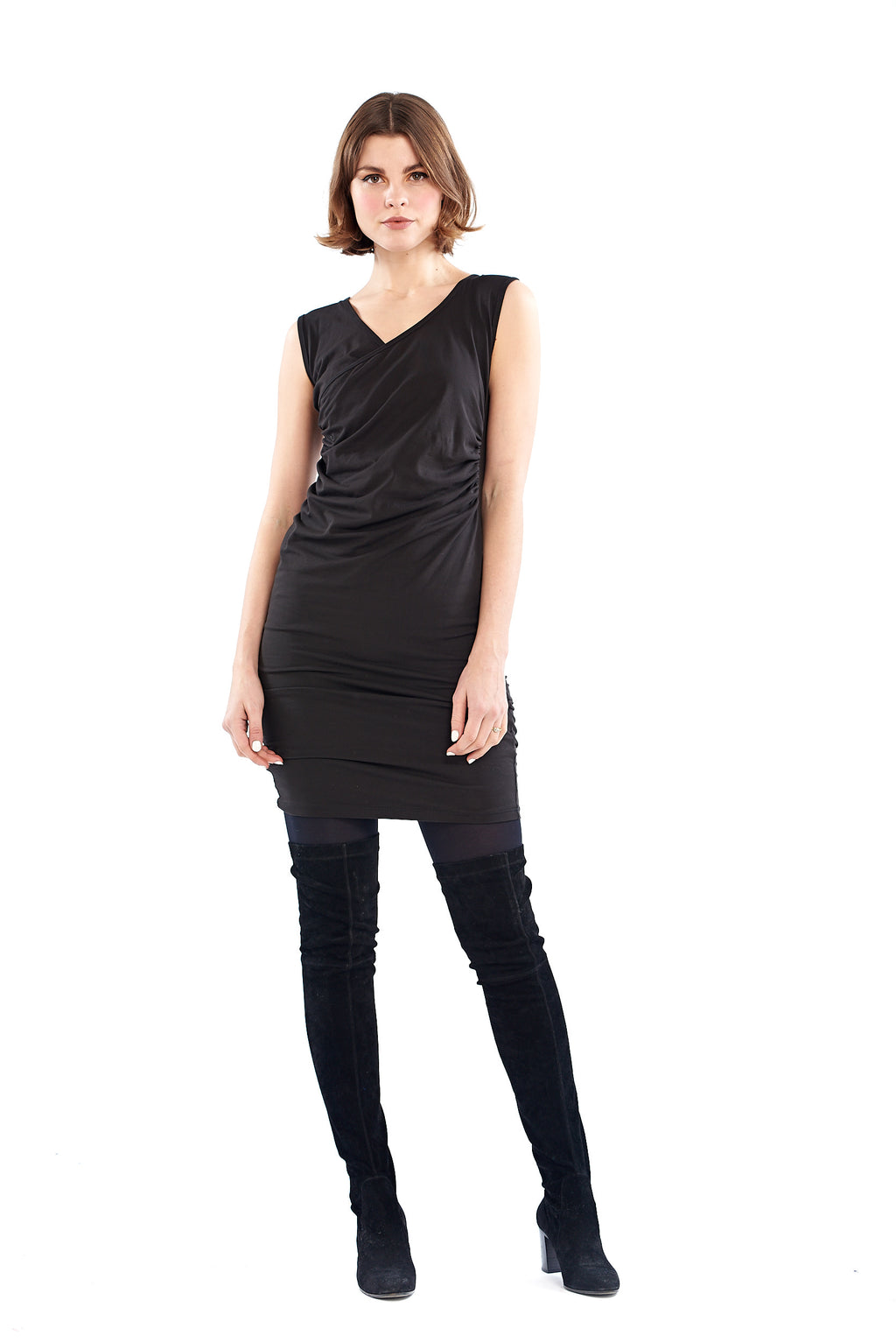 Organic Bamboo Crossover Dress Black - MUDRA